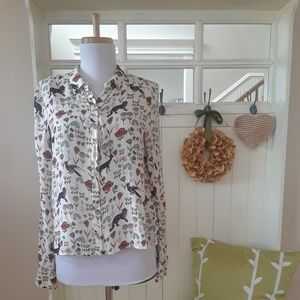 Adorable Zara Woodlawn Print Button Up Blouse